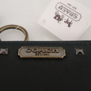 NWT Coach Black & Nickel Keychain Wallet